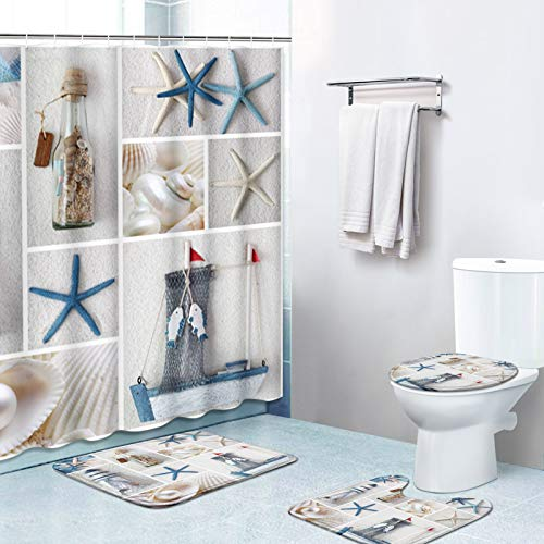 Britimes 4 Piece Shower Curtain Sets, with 12 Hooks, Beach Sea Shell with Non-Slip Rugs, Toilet Lid Cover and Bath Mat, Durable and Waterproof, for Bathroom Decor Set, 72' x 72'