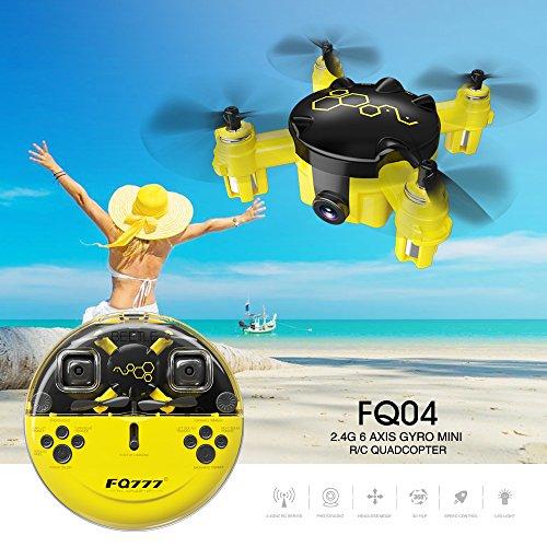 Cewaal FQ04 Mini Pocket Drone con cámara de video en vivo, 3D Flips teledirigido sin cabeza modo Quadcopter Drone Toys
