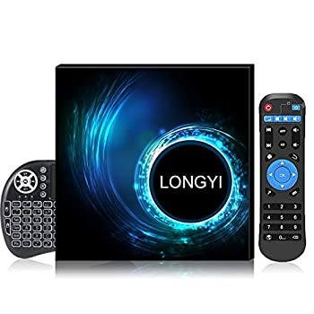 Android TV Box10.0  LONGYI Android Box 4GB RAM 32GB ROM with Allwinner H616 Quad-Core Supports 2.4G 5G Dual WiFi/BT 5.0 /4K/6K/3D/H.265 Smart TV Boxes with Wireless Backlit Mini Keyboard 2021