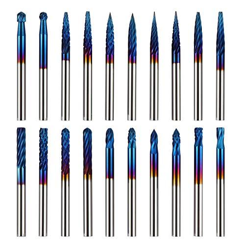 Genmitsu 20pcs Juego de fresas de carburo Nano Blue Coating Rotary Files 0.118'(3mm) Shank Se adapta a la mayoría de las fresas de taladro rotativo para grabar, perforar, tallar, RR20A