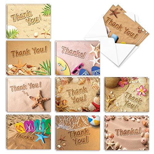 The Best Card Company - 20 Thank You Note Cards with Envelopes (4 x 5.12 Inch) - Assorted Boxed Set of Gratitude Notecards (10 Designs, 2 Each) - Beach Notes AM6113TYG-B2x10