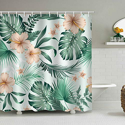 Eleroye 72 x 72 inches Floral Fabric Shower Curtain with Hooks Rose Gold Flowers Palm Monstera Turtle Leaves Tropical Green Leaves Bathroom Decor Waterproof Machine Washable