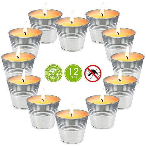 Aottom 12 Stück Anti Mücken Citronella Kerzen im Metalleimer,100% Sojawachs Citronella Duftlichter Zitrone Teelichter Outdoor Anti Mücken und Insekten Ideal für Balkon, Terrasse, Garten und Camping