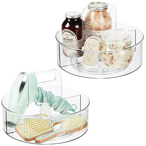 mDesign Juego de 2 bases giratorias con asa para cosméticos – Organizador de maquillaje con 2 compartimentos para cremas y medicinas – Plataforma giratoria redonda para baño – transparente