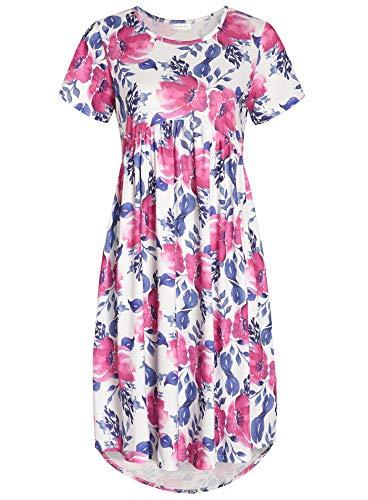 Weintee Women's Flowy High-Low Dress with Pockets L Watercolor Flower