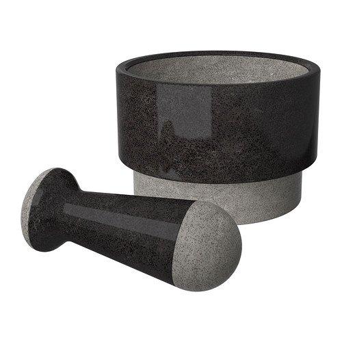 ÄDELSTEN Mörser und Stößel Marmor schwarz