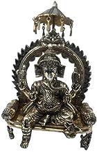 Brass Craft Lord Ganesha Sitting on Singhasan Brass Ganesh Bhagwan Idol Ganpati Murti for Home Office Entrance Decor Diwal...