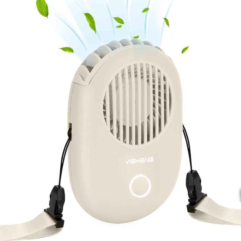 Portable Fans,Bladeless Fan,YISHENG Neck fan,Portable Fan With USB Rechargeable Battery for Women Kids Girls Men Outdoor Travel Camping Park,Off-white