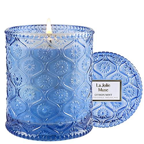 LA JOLIE MUSE Vela perfumada de menta y limón, vela de cera natural para el hogar, 55 horas de duración, decoración y fragancia para el hogar, frasco de vidrio, 230 g