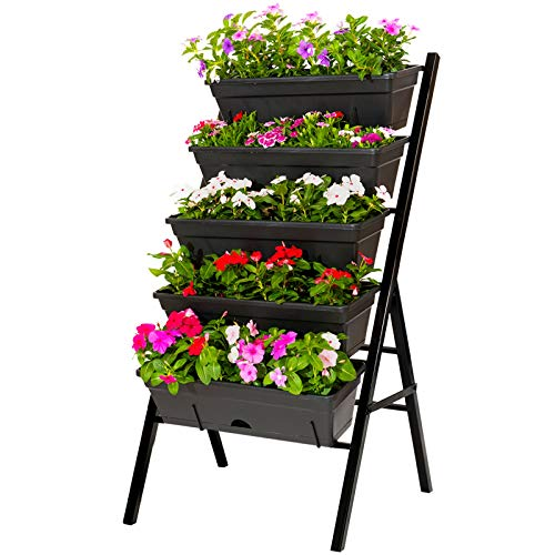 CERBIOR Vertical Garden Herb Raised Bed 4FT Freestanding Elevated Planters with 5 Container Boxes, Good for Patio Balcony Indoor Outdoor (Black)