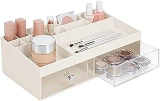 Caja para Maquillaje con Dibujo de m/ármol Blanco y Gris mDesign Juego de 2 organizadores de Maquillaje Minic/ómoda apilable con 2 cajones y Caja con Tapa para cosm/éticos o Productos de higiene