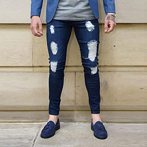 Pernera Recta Pernera Regular Pantalones De Mezclilla De Trabajo De Corte Regular Skinny Slim Fit Moda Streetwear para Hombre Jeans Rasgados para Hombres Stretch Hip Hop Skinny Jea