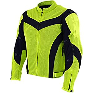Xelement CF6019 Invasion Mens Neon Green Motorcycle Jacket
