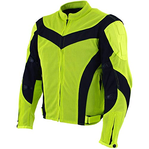 Xelement CF-6019-66 'Invasion' Men's Neon Green Mesh Armored Motorcycle Jacket - 3X-Large