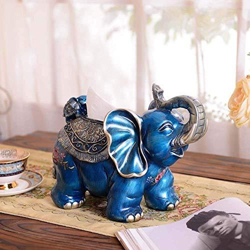DXX-HR Cajas de pañuelos con diseño de elefante, color azul, para decoración del hogar, accesorios de decoración para el hogar, cajas de humo de 31 x 18 x 20 cm, delicadas y hermosas