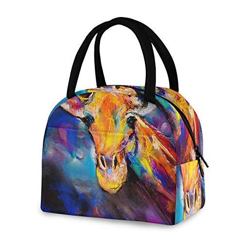 RELEESSS - Bolsa térmica para el almuerzo con diseño de jirafa de acuarela, reutilizable, para mujeres, hombres, niñas y niños