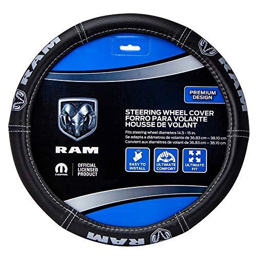 Plasticolor 006697R25 Dodge Ram Deluxe Elite Steering Wheel Cover - Gray Logo