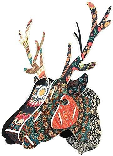 WYKDL Cartón Safari cabeza de los ciervos contrachapado de abedul animal Taxidermia creativa personalidad ciervos montado pared de madera que cuelga cabeza decoración de la pared decoración de la pare