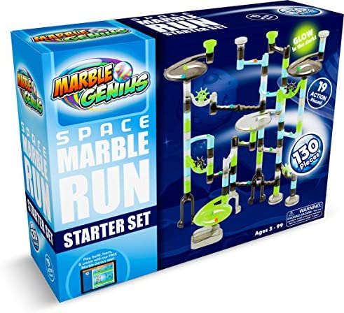 Marble Genius Marble Run Starter Set - 130 Complete Pieces + Free Instruction App (80 Translucent Marbulous Pieces + 50 Glass Marbles)