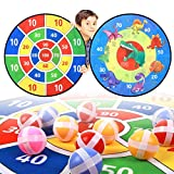 TOMYOU Dart Board for Kids - 26 inchs, Double Sided Dinosaur Themed Board Games with 16 Sticky Balls, Hooks, Christmas or Birthday Toy Gift for Boys Girls Age 3 + Years Old