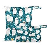 QMIN - Bolsa seca húmeda para bebé, diseño de corazón de oveja, impermeable, con dos...