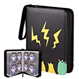 Geecow 4-Pocket Binder Compatible with Pokemon Cards, Portable Storage Case with Removable Sheets Holds Up to 400 Cards-Toys Gifts for 3-8 Year Old Boys Girls (Black)