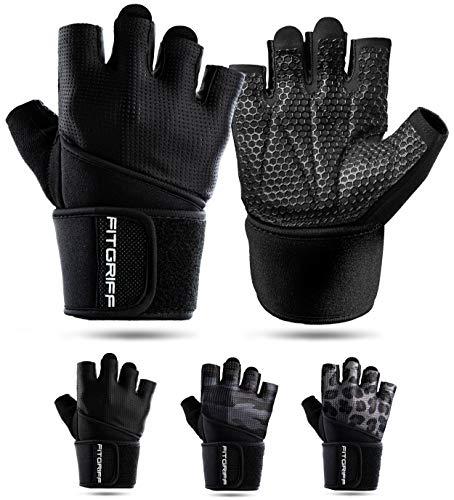 Fitgriff® Fitness Handschuhe V2, Trainingshandschuhe, Sporthandschuhe für Damen und Herren, Krafttraining, Kraftsport, Training, Sport, Gym, Workout Gloves (Full Black, 9)