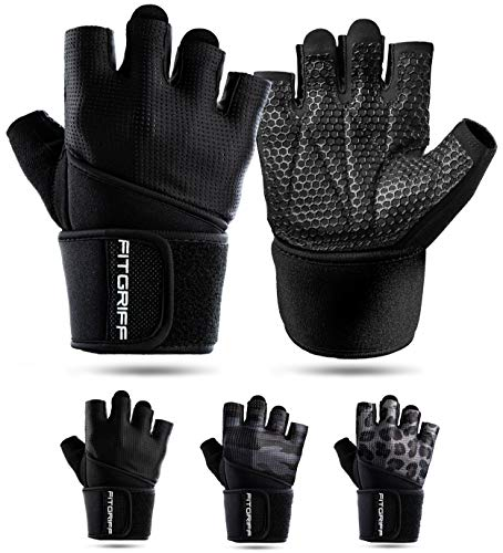 Fitgriff® Fitness Handschuhe V2, Trainingshandschuhe, Sporthandschuhe für Damen und Herren, Krafttraining, Kraftsport, Training, Sport, Gym, Workout Gloves (Full Black, 8)