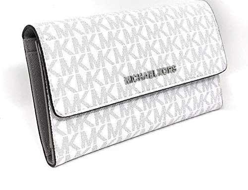 Michael Kors Jet Set Travel Large Trifold Leather Wallet (White PVC)