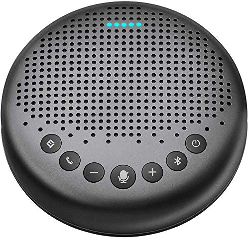 Bluetooth Speakerphone – Luna Updated AI Noise Reduction Algorithm Featured, Daisy Chain, USB Conference Speaker Phone w/Dongle for Home Office, 360° Voice Pickup for up to 8 People