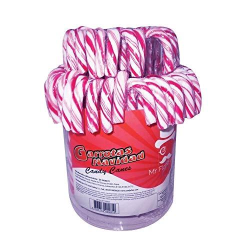 CFV FOODS - Tarro de Bastones de Caramelos de Navidad Rayas Rojas y Blancas 14 Grs- 72 Unidades