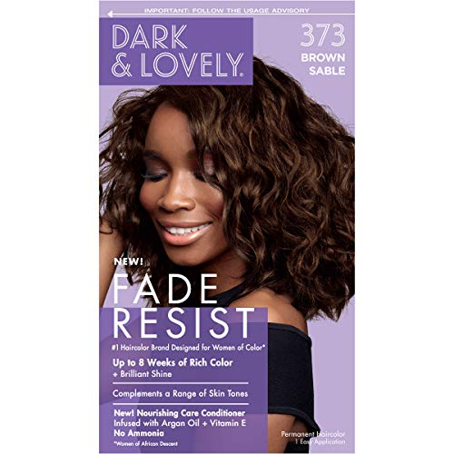 Softsheen-Carson Dark and Lovely Fade Resist Rich Conditioning Hair Color, Permanent Hair Color, Up To 100% Gray Coverage, Brilliant Shine with Argan Oil and Vitamin E, Brown Sable