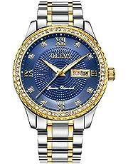 メンズ腕時計 紳士用腕時計 ビジネス 3Dポインター ステンレススチール 合金ケース カレンダー日付窓クォーツウオッチ 男性用防水ダイアモンド クラシックローマ数字時計