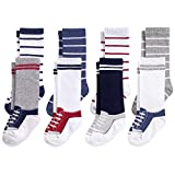 Hudson Baby Unisex Baby Cotton Rich Knee-High Socks, Sneaker Blue Red, 12-24 Months