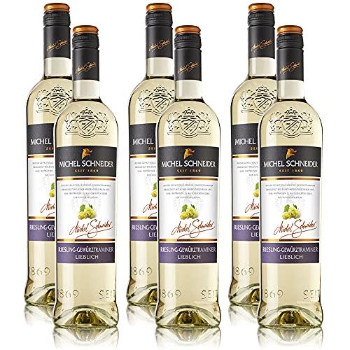 6 Flaschen Weisswein Michel Schneider Riesling Gewürztraminer Pfalz QbA, lieblich (6x0,75l)
