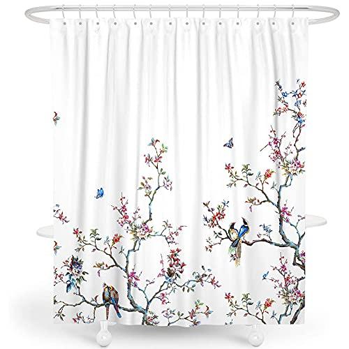 LIVETTY Stoff Blumenduschvorhang Set Weiß Ombré Aquarell Dekorativer Badvorhang mit Kletterblumen Vogel & Blätter für Modernes Badezimmer, maschinenwaschbar
