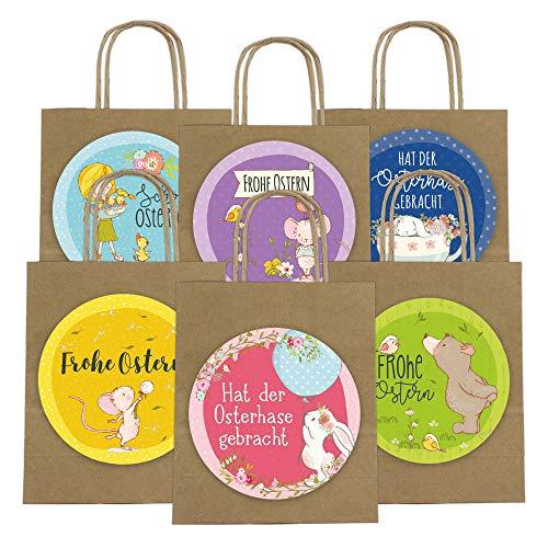Papierdrachen XXL Geschenktüten für Kinder zu Ostern - Osterdeko - Kreatives Osternest mit 6 Papiertüten und XXL Aufklebern (14cm) - Design 62