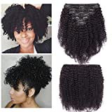 S-noilite Kinky Curly Clip in Human Hair Extensions for Black Women Afro Kinky Curly Human Hair Extensions for African American Lady Double Weft Full Head #Natural Black (8Inch 8PCS/18Clips/Set)