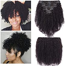S-noilite Afro Kinky Curly Clip in Human Hair Extensions for Black Women Kinky Curly Remy Human Hair Extensions for African American Women Double Weft 8PCS/18Clips/Set (10Inch #Natural Black)