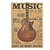 ShengshiZZ 2019 Nuevo 51.5x36cm Música Guitarra Retro Kraft Papel Póster Estilo Vintage Decorativo Póster Pared Café Tienda Barra para Hogar - H01
