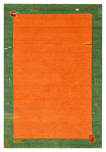 Morgenland Gabbeh Teppich BAROSSA Orange Handgewebt Bordüre 300 x 200 cm