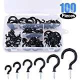 Glarks 100-Pieces 6 Sizes Black Vinyl Coated Cup Hooks Screw-in Ceiling Hooks Screw Hooks Mug Hooks Hangers Assortment Kit for Home and Office Use