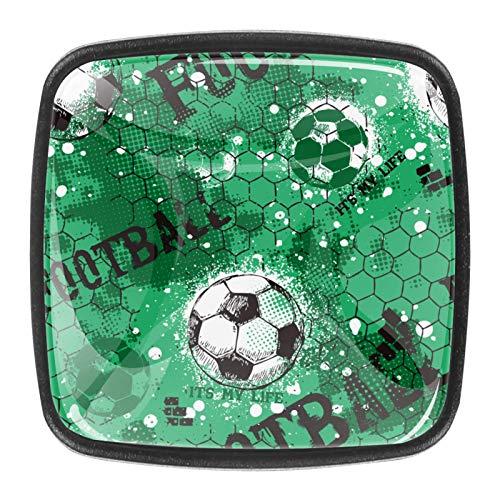 Tirador de cajón de 30 mm, 4 piezas, de cristal, para el hogar, armarios de cocina, fondo verde, fútbol