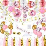 Decoraciones de baby shower para niñas - rosa, blanco, dorado, decoración de fiesta - tema de unicornio dulce listo para colgar - Bolas de panal, faroles, borlas, globos, bandera, faja, abanico, 73...