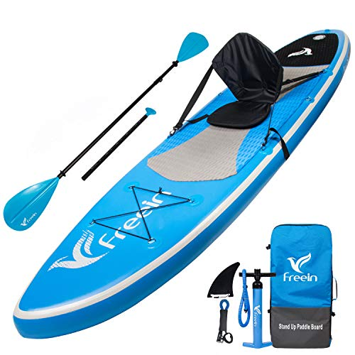 "Freein All Around Inflatable Stand Up Paddle Board W/Kayak Conversion Kit -10' 6"" Long, 31"" Wide - Includes Kayak Seat, Single/Dual Blade Paddle, Hand Pump, Travel Backpack, Ankle Leash"