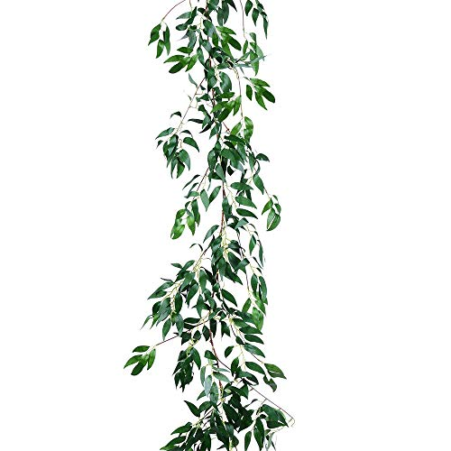 YQing Artificial Greenery Garland 5.7 FT Faux Silk Willow Leaves Vines Wreath Wedding Backdrop Wall Decor Flower Arrangement (Green)