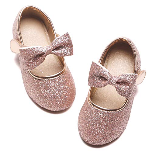 Felix & Flora Toddler Little Girl Pink Mary Jane Dress Shoes - Ballet Flats for Girl Party School Shoes(Pink,5 Toddler