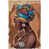 Unbekannt Afrika Leinwand Malerei Wandkunst Poster und Drucke Schwarze Frau Auf Leinwand Wandbilder Wohnzimmer-60x80cm (23,6'x31,5) Kein Rahmen