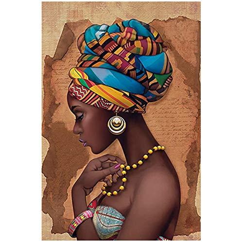Unbekannt Afrika Leinwand Malerei Wandkunst Poster und Drucke Schwarze Frau Auf Leinwand Wandbilder Wohnzimmer-60x80cm (23,6