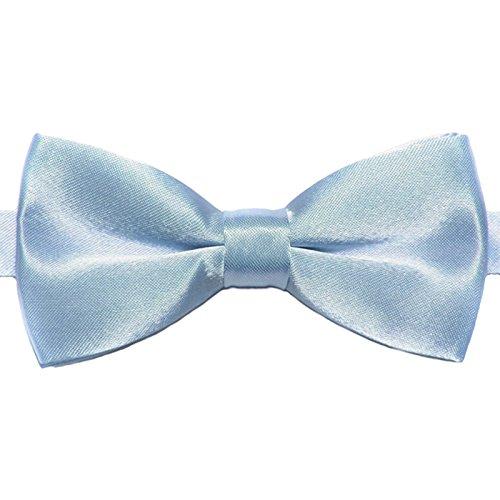GASSANI Kinder-Fliege Hellblau Satin Seide-Optik | vor-gebundene Kinderschleife Anzugschleife | verstellbar